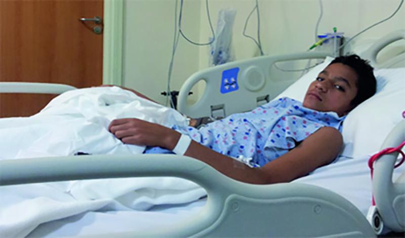 سامان هفدهساله به دلیلآرتریت بستری شده است.